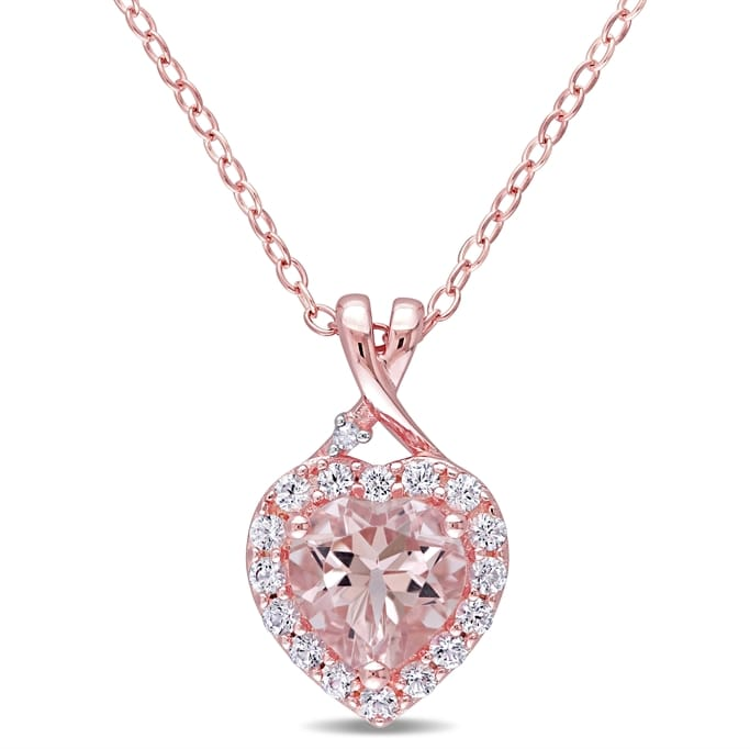 Rose Pink Sterling Silver 1 4//5 ct TGW Morganite Necklace and Stud Earrings Set