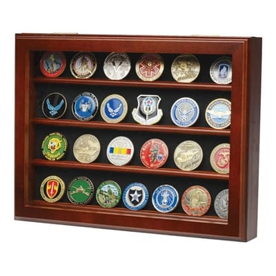 Picture of 32 Coin Wall Mount Coin Display Case - Walnut
