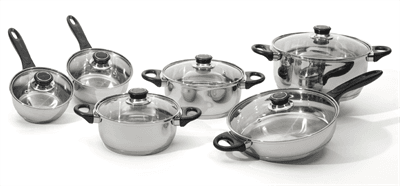 Picture of Ostend Cookware Set Stainless Steel - 12 Piece - Silver