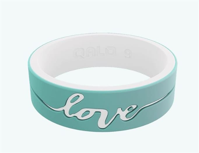 QALO Rings - Women's Strata Mint & White Love Silicone Ring