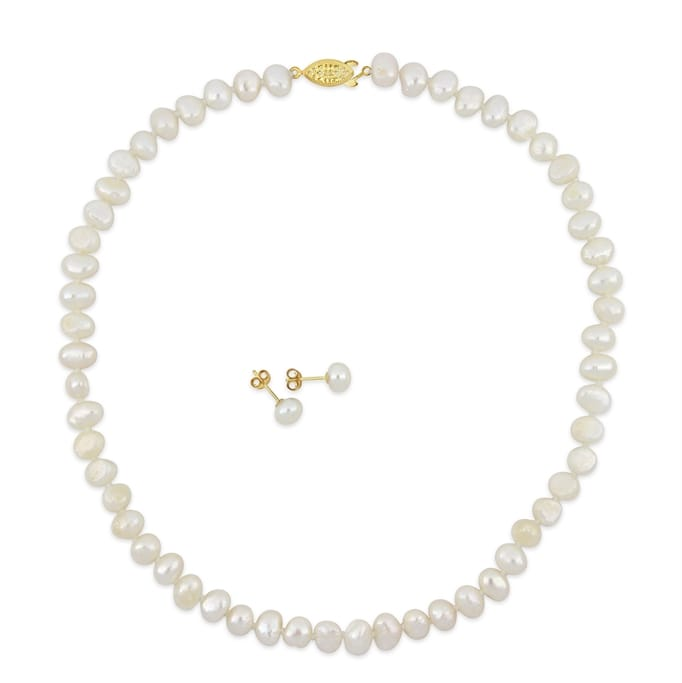 8-8.5mm White Freshwater Cultured Pearl Bracelet with 14k Yellow Gold Beads and Stud Earrings Set